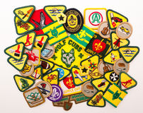Cub and Scout Merit Badges. A variety of Cub and Boy Scout Merit Badges. Some up to date, some vintage Stock Images