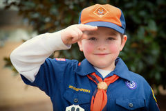 Cub Scout que da saludo del boy scout Foto de archivo