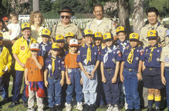 A Cub Scout troop. With their leaders Royalty Free Stock Photo
