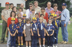 A Cub Scout troop. With their leaders Stock Photos