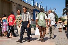 Cuba. SANCTI SPIRITUS, CUBA - FEBRUARY 6: Cubans in Calle Independencia street on February 6, 2011 in Sancti Spiritus, Cuba. Independencia walkway is the most Stock Photography