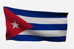 Cuba 3d flag. Isolated on white background Stock Photos