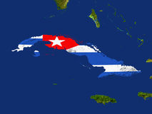Cuba. Highlighted Satellite Image Of Cuba With The Countries Flag Covering It Stock Images