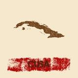 Cuba afligiu o mapa Fotos de Stock