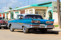 Cuba american blue vintage car parked on the road Royalty Free Stock Photography