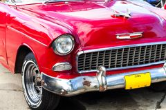 Cuba American oldtimer in Cuba Front view Stock Images