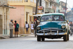 Cuba american Oldtimer drives in the countryside Stock Image