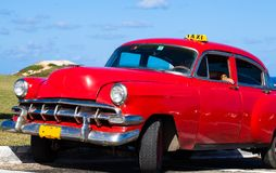 Cuba american Oldtimer taxi on the Street Stock Photo
