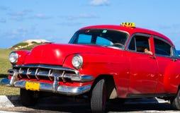 Cuba american Oldtimer taxi on the Street. Cuba american Oldtimmer on the main road Stock Photo