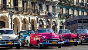 American convertible vintage cars parked on the main street in Havana Cuba Royalty Free Stock Images