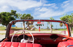 Cuba american red Oldtimer park in the Varadero Stock Photos