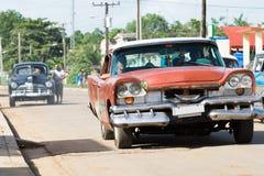 Cuba american vintage car on the road Stock Photos