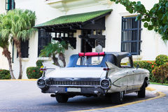 Cuba american white Oldtimer parked on the road Royalty Free Stock Photography