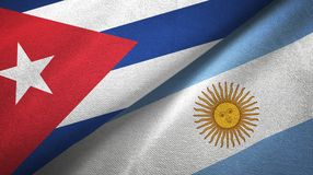 Cuba and Argentina two flags textile cloth, fabric texture. Cuba and Argentina flags together textile cloth, fabric texture vector illustration