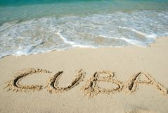Cuba Beach. Cuba word - letters on the sandy beach Royalty Free Stock Images