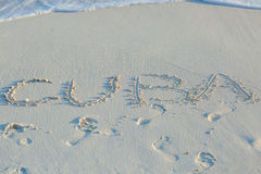 Cuba beach, letters on the sand Stock Photos