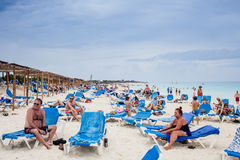 Cuba Beach With many Canadian Tourists stock images