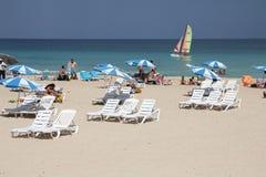 Cuba beach tourists Royalty Free Stock Photos