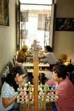 Cuba: Beauty-Salon in a flat in Havanna. That`s how many woman a royalty free stock images