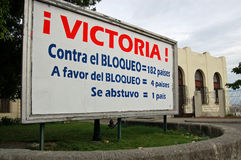 Cuba blockade vote poster Stock Image