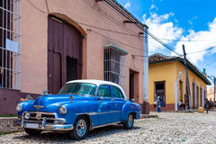 Cuba blue classic car. On the street Royalty Free Stock Image