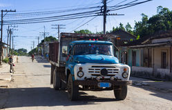 Cuba blue truck on the road Stock Image