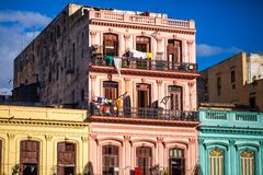 Cuba Buildings in Havana. On the Main Street Stock Photography