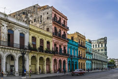 Cuba buildings on the Main street in Havanna Stock Photo
