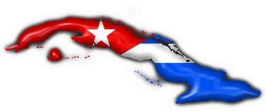 Cuba button flag map shape Royalty Free Stock Images