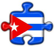 Cuba button flag puzzle shape Royalty Free Stock Images