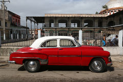 Cuba, Cardenas, Oldtimer. Cuba, red Oldtimer parked in cardenas Royalty Free Stock Photo