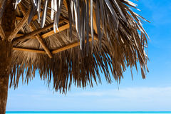 Cuba carribean sunshade on the beach Royalty Free Stock Photo
