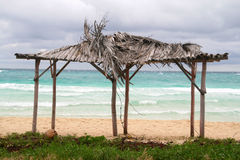 Cuba cayo coco. Cuba parasol shelter, cayo coco Royalty Free Stock Photography