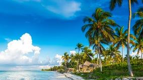 CUBA CAYO: Un asiento delante del mar del Caribe Playa hermosa Foto de archivo libre de regalías