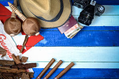Cuba cigars and music instrument royalty free stock photography