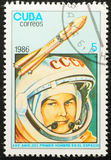 CUBA - CIRCA 1986. Cosmonaut Valentina Tereshkova Royalty Free Stock Photography