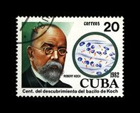 Robert Koch, tuberculosis scientist, explorer, tubercle bacillus discoverer, Cuba, circa 1982,. CUBA - CIRCA 1982: post stamp printed in Cuba shows tuberculosis royalty free stock image