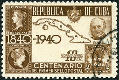 CUBA - 1939: shows Sir Rowland Hill 1795-1879, Map of Cuba and First Stamps royalty free stock image