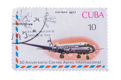 CUBA - CIRCA 1977: A stamp printed in shows Jet aircr royalty free stock photos