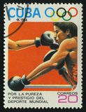 Postage stamp. CUBA - CIRCA 1984: 1984 Summer Olympics, Los Angeles. Boxing Stock Images
