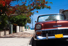 Cuba classic car parked in Havana. With blue sky Royalty Free Stock Image