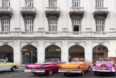 Cuba classic cars parked in series in Havana Stock Image