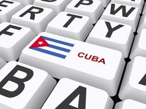 Cuba. Computer keyboard with double key marked with text ' Cuba ' and Cuban flag Royalty Free Stock Image