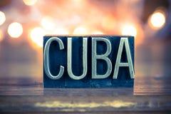Cuba Concept Metal Letterpress Type Stock Photography