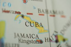 Cuba country on paper map. Close up view stock photos