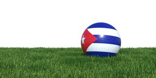 Cuba Cuban flag soccer ball lying in grass world cup 2018. Isolated on white background. 3D Rendering, Illustration Royalty Free Stock Image