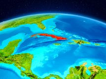 Cuba da órbita Imagens de Stock