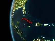 Cuba da spazio alla notte illustrazione vettoriale