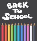 Cuba de tintura a la escuela Sistema de lápices coloreados Graphhics del vector Escuela Sistema plano de lápices ilustración del vector