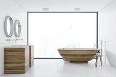 Cuba do banheiro branco e dissipador interiores, de madeira ilustração stock